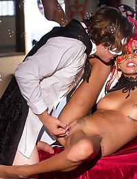 Nothing fires up Janic Griffith's desire like the thrill of the unknown, and the mystery of a casual hook-up. At the end of their Halloween party, only two people were left, Janice and the masked man who had caught her eye all night long. Feeding on the sexual energy of the forbidden fruit, Janice dove down on Tyler's cock, and took her time enjoying as much of his cock in her mouth as she could fit. Tyler repaid the favor, going downtown to explore the lips of her pussy and circling her clit with light, sensitive strokes of his tongue. Then he slipped his whole shaft into her, and thrust as deep as he could go into her before pulling out and shooting his cum on her crotch.